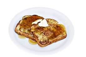 picture of french toast  - French toast made from raisin bread with syrup and butter - JPG