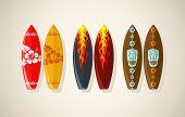Vector illustration of surf boards in vintage colors