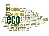 High resolution concept or conceptual abstract green eco or ecology and conservation word cloud text