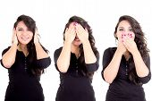 girl see hear speak no evil metaphor