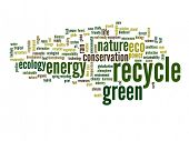 High resolution concept or conceptual abstract green recycle and ecology and conservation word cloud