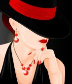 Illustration of mysterious woman