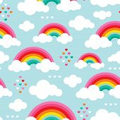 Seamless rainbow sky an hearts ion the clouds illustration background pattern in vector