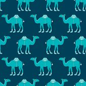Seamless kids camel parade illustration blue arabic theme background pattern in vector
