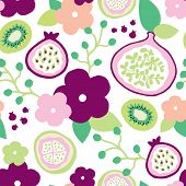 Seamless pomegranate kiwi and exotic fruit illustration garden background pattern in vector
