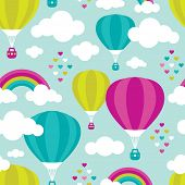 Seamless dreamy sky and hot air balloon rainbow background pattern in vector