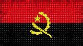 Flag Of Angola Lighting On Led Display