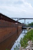 Barges And Bridge In Saint Paul