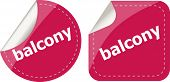 Balcony Word On Stickers Button Set, Label, Business Concept