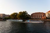 Tourist Boats In Spree River Berlin Germany