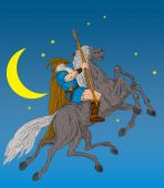 Norse God Odin riding eight-legged horse Sleipner