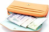 Orange Wallet With Cash