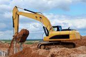 Excavator Loader At Construction Site