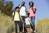 Family on country hike
