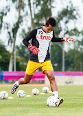 Sisaket Thailand-june 29: Pisan Dorkmaikaew Of Bangkok Utd. In Action During A Training Ahead Thai P