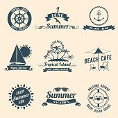 Summer sea emblems black