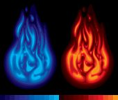 Vector image of red and blue flames with the scale of used colors on a black background