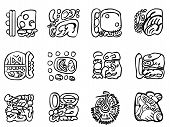 Maya Patterns. Outline Drawings.
