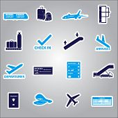 airport stickers set eps10