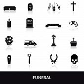 pic of hearse  - 16 simple black funeral icons set eps10 - JPG