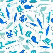 fishing icons blue and white pattern eps10