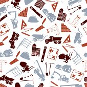 construction icons seamless color pattern eps10