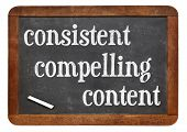 consistent, compelling content -  recommendation for bloging and social media marketing - white chal