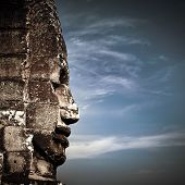 Buddha faces of Bayon temple at Angkor Wat complex Siem Reap Cambodia