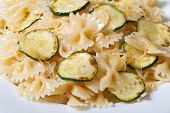 Farfalle Pasta With Zucchini Slices Macro Horizontal