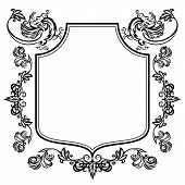 pic of gargoyles  - Vector illustration frame with floral ornament and gargoyles on a white background - JPG