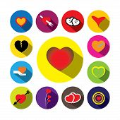 Flat Design Colorful Heart Vector Icons Collection Set