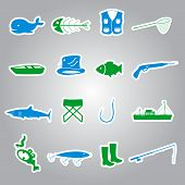 fishing stickers set eps10