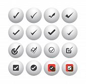 Tick Mark Or Right Sign Vector Icons Collection Set.