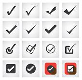 Tick Mark Or Right Sign Vector Icons Collection Set