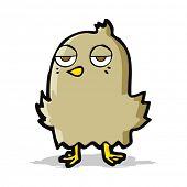 cartoon bored bird