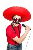 Funny mexican with mic isolated on the white