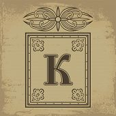 picture of letter k  - Capital letter K in old Russian style vector illustration - JPG