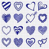 Hand drawn set of heart icons on a checkered paper background. P