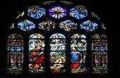 PARIS, FRANCE - NOV 05,2012: Nativity Scene stained glass in Church of St Eustace. Church was built