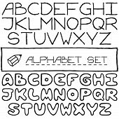 Doodle letters set of two full alphabets.