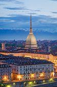 Turin (torino), Mole Antonelliana And Piazza Vittorio, Twilight