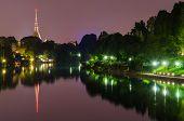Turin (torino), Night Panorama With River Po And Mole Antonelliana