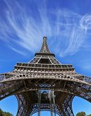 The best-known in the world - Eiffel Tower. It is picturesquely photographed from below by a lens a