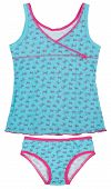Blue childrens girls pajama set isolated on white