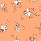 seamless pattern with apple blossoms and leaves