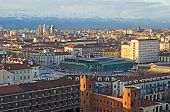 image of torino  - Turin (Torino) Porta Palazzo and snowy Alps ** Note: Soft Focus at 100%, best at smaller sizes - JPG