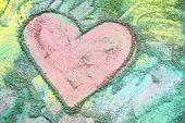 Pink Heart Drawn In Chalk On Colorful Rainbow Background