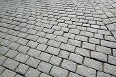 foto of paving stone  - Old road paved with the cobble stones - JPG