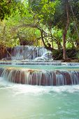 Kuangsi  Waterfall In Deep Forest In Laos