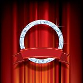 abstract vector background, diamond ring with blank banner on red velvet